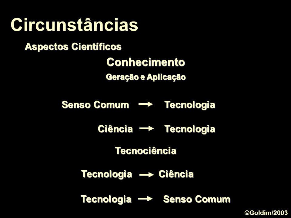 Circunstâncias Aspectos Científicos Ciência Tecnologia Tecnociência Conhecimento Geração e Aplicação Senso Comum Tecnologia Tecnologia Ciência Tecnolo