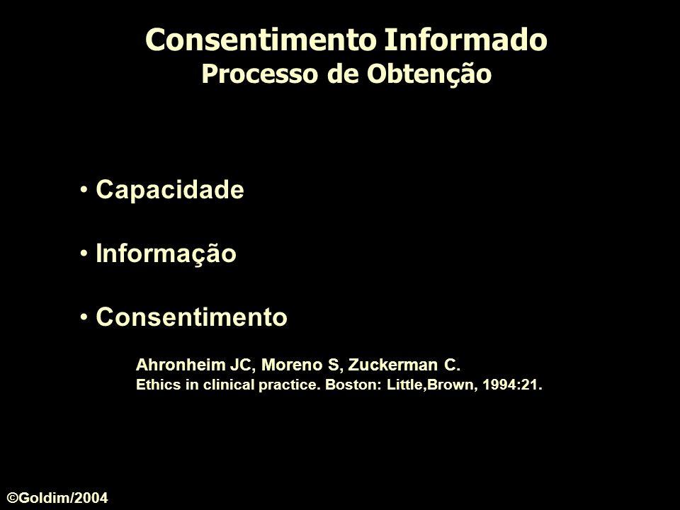 Consentimento Informado Processo de Obtenção Capacidade Informação Consentimento Ahronheim JC, Moreno S, Zuckerman C. Ethics in clinical practice. Bos