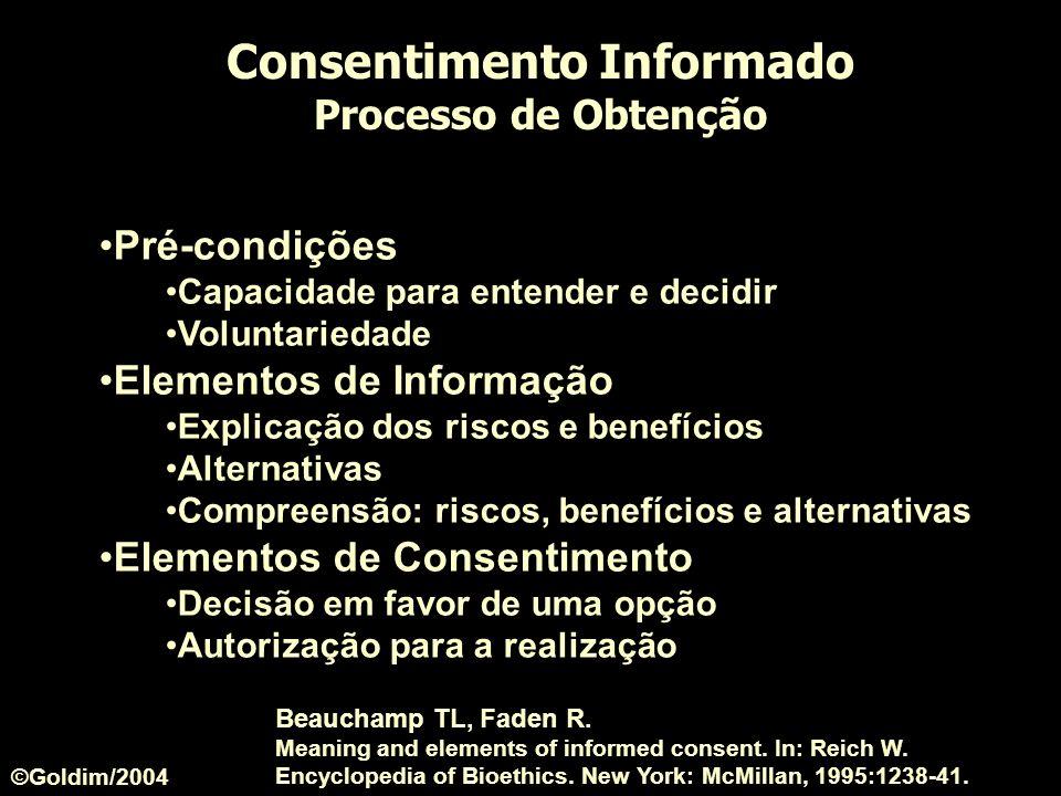 Consentimento Informado Processo de Obtenção Pré-condições Capacidade para entender e decidir Voluntariedade Elementos de Informação Explicação dos ri
