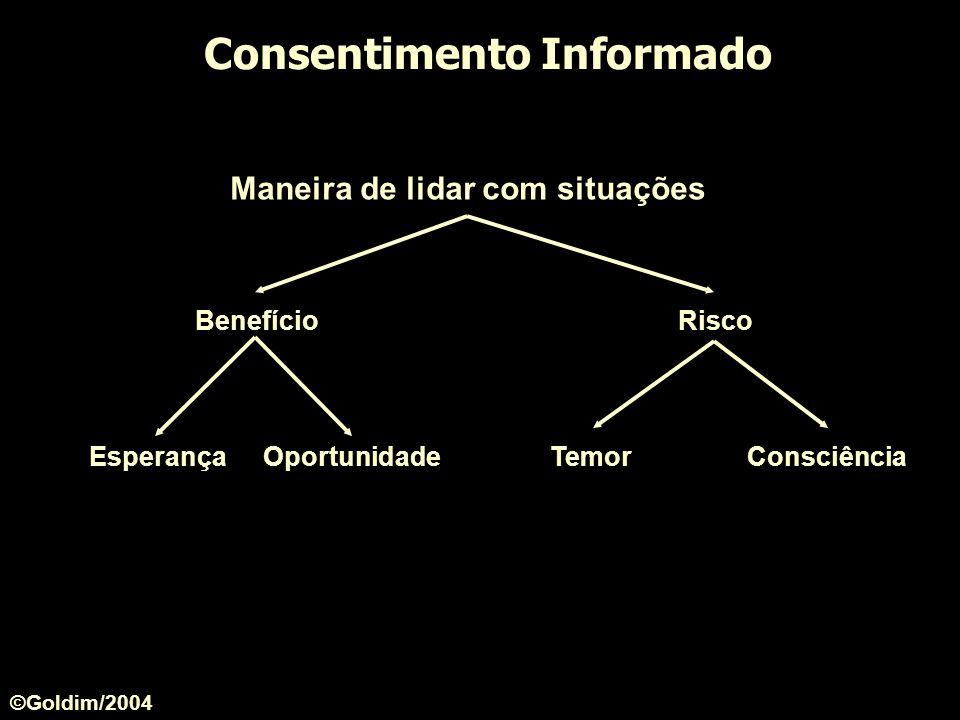Consentimento Informado Maneira de lidar com situações BenefícioRisco EsperançaOportunidadeTemorConsciência ©Goldim/2004