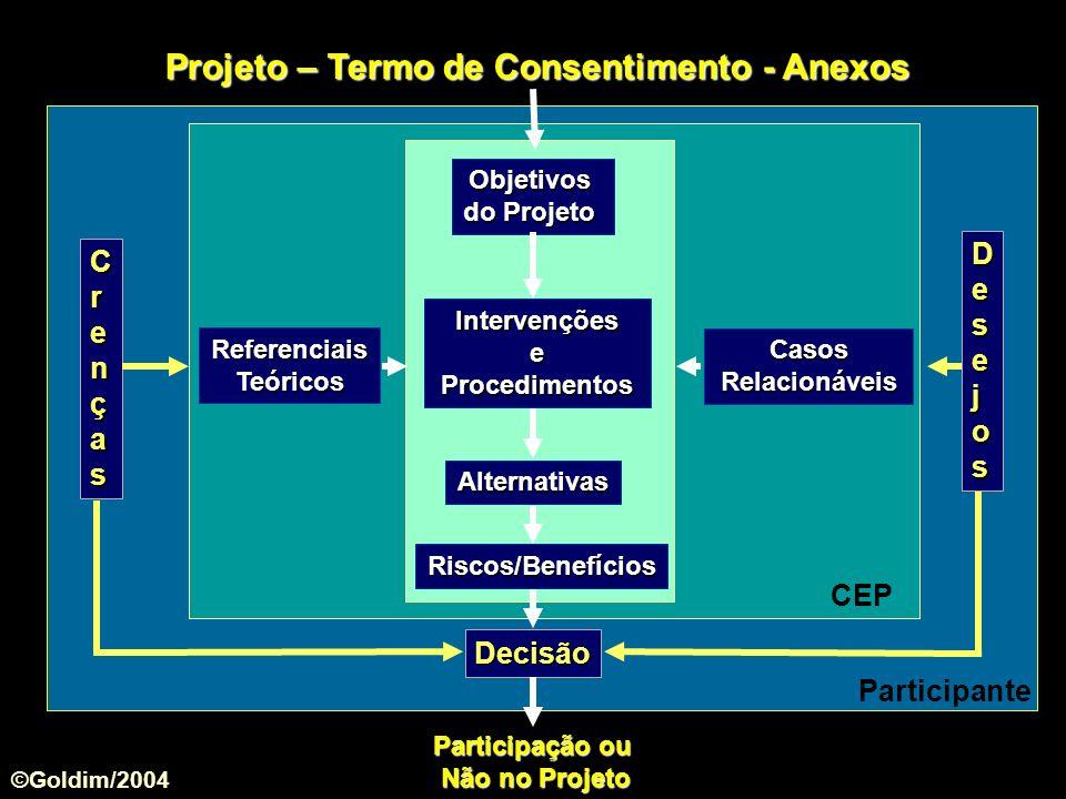 Referenciais Teóricos CasosRelacionáveis Objetivos do Projeto Alternativas Intervenções e Procedimentos Riscos/Benefícios Projeto – Termo de Consentim
