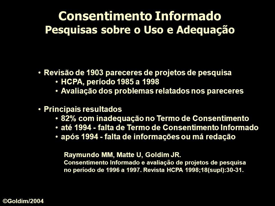 Revisão de 1903 pareceres de projetos de pesquisa HCPA, período 1985 a 1998 Avaliação dos problemas relatados nos pareceres Principais resultados 82%