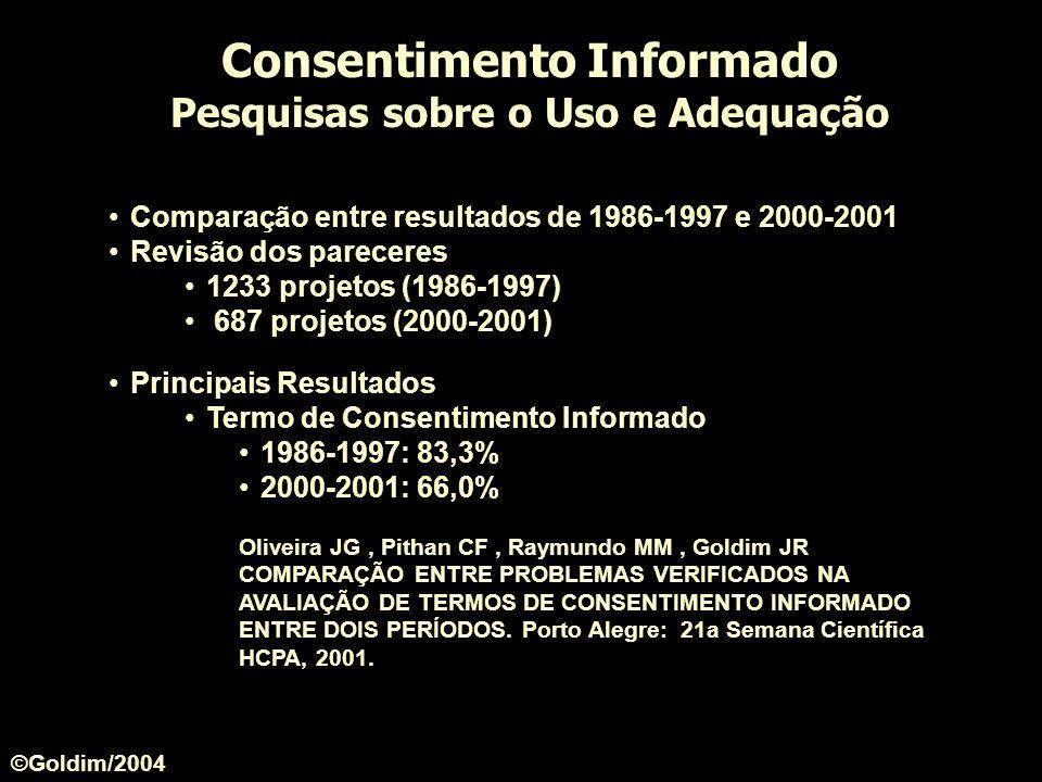Comparação entre resultados de 1986-1997 e 2000-2001 Revisão dos pareceres 1233 projetos (1986-1997) 687 projetos (2000-2001) Principais Resultados Te
