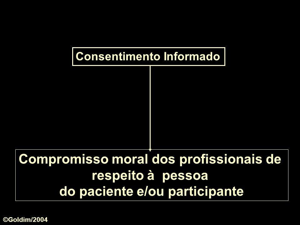 Consentimento Informado Compromisso moral dos profissionais de respeito à pessoa do paciente e/ou participante ©Goldim/2004