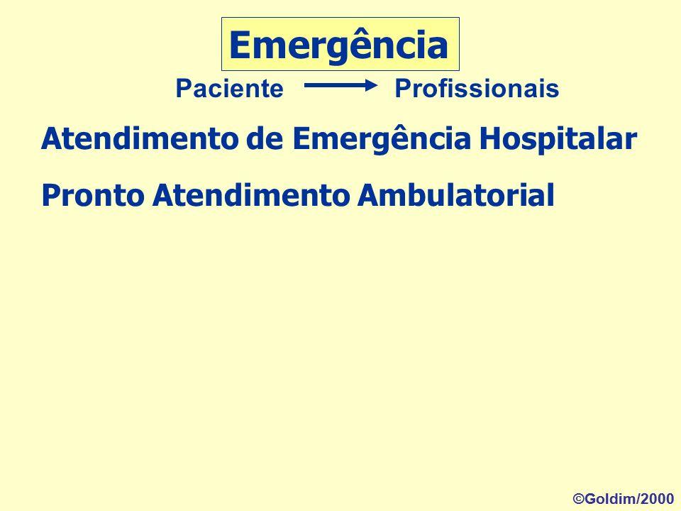 Pronto Atendimento Ambulatorial Atendimento de Emergência Hospitalar Emergência Paciente Profissionais ©Goldim/2000