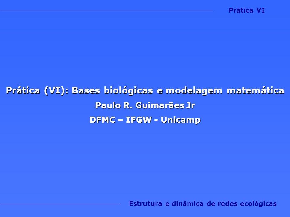 Prática (VI): Bases biológicas e modelagem matemática Paulo R. Guimarães Jr DFMC – IFGW - Unicamp Estrutura e dinâmica de redes ecológicas Prática VI