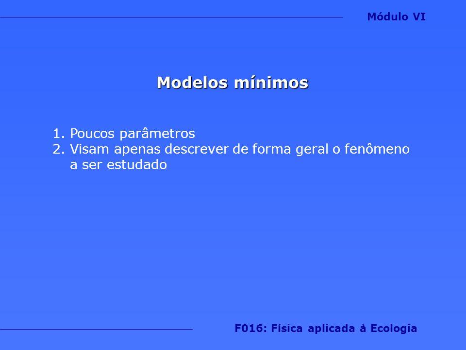 Modelos mínimos 1.Poucos parâmetros 2.Visam apenas descrever de forma geral o fenômeno a ser estudado Módulo VI F016: Física aplicada à Ecologia