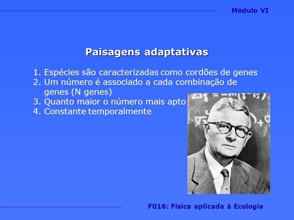 Paisagens adaptativas 1.Espécies são caracterizadas como cordões de genes 2.Um número é associado a cada combinação de genes (N genes) 3.Quanto maior