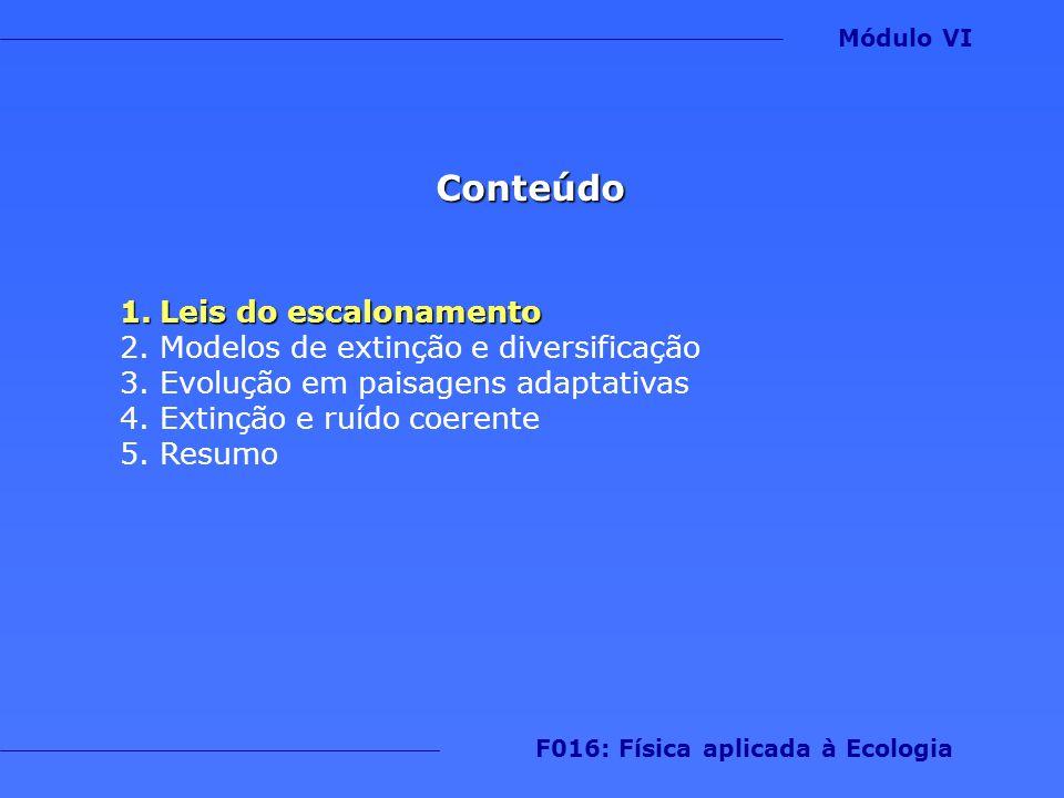 Conteúdo 1.Leis do escalonamento 2.Modelos de extinção e diversificação 3.Evolução em paisagens adaptativas 4.Extinção e ruído coerente 5.Resumo Módul