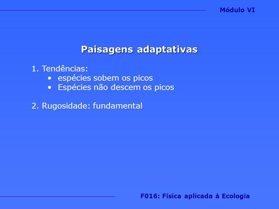 Paisagens adaptativas 1.Tendências: espécies sobem os picos Espécies não descem os picos 2.Rugosidade: fundamental Módulo VI F016: Física aplicada à E