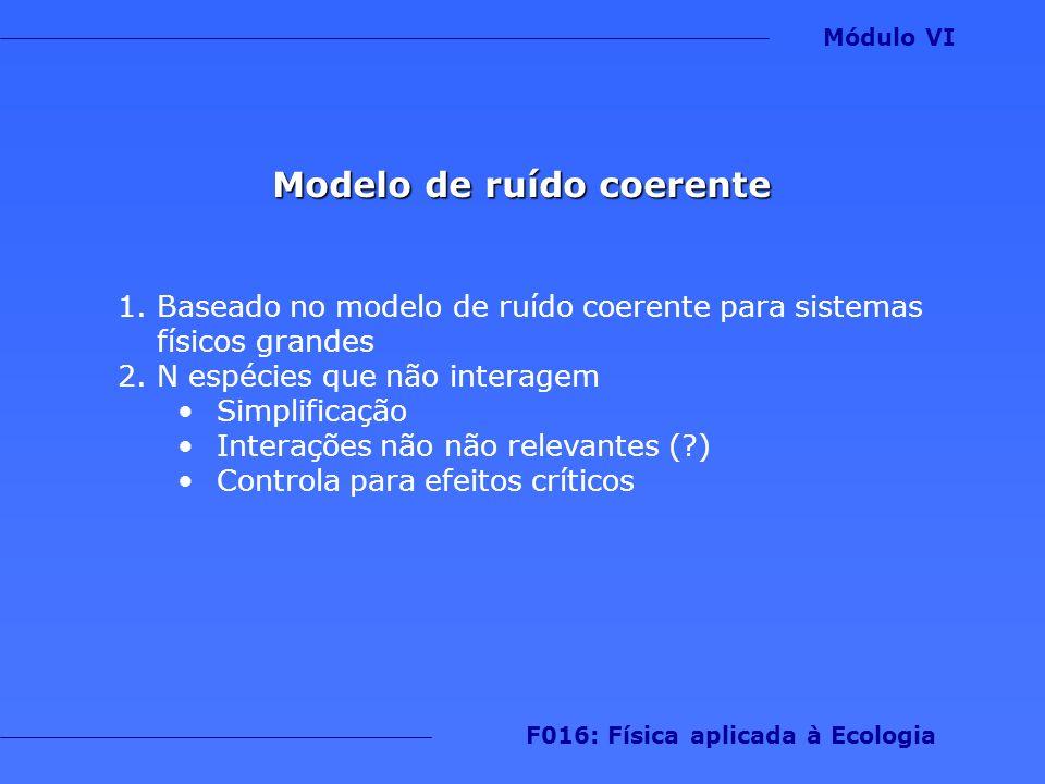 Modelo de ruído coerente 1.Baseado no modelo de ruído coerente para sistemas físicos grandes 2.N espécies que não interagem Simplificação Interações n