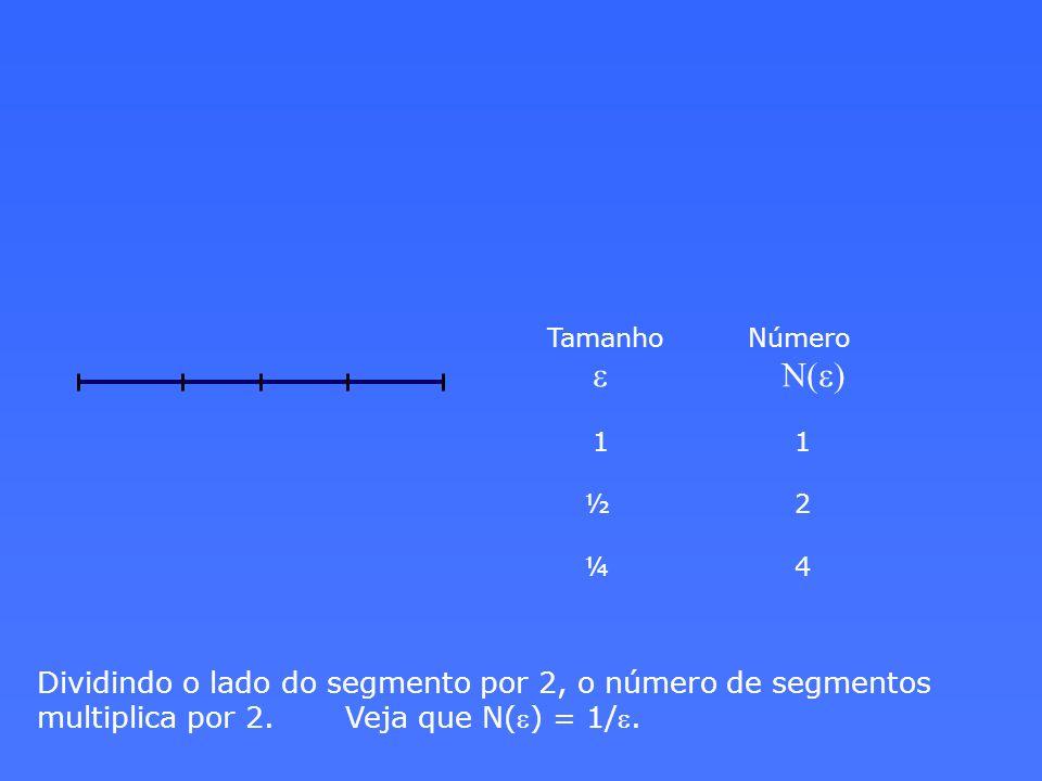 Dividindo o lado do segmento por 2, o número de segmentos multiplica por 2. Veja que N( e ) = 1/ e. Tamanho Número e N(e) 1 1 ½ 2 ¼ 4