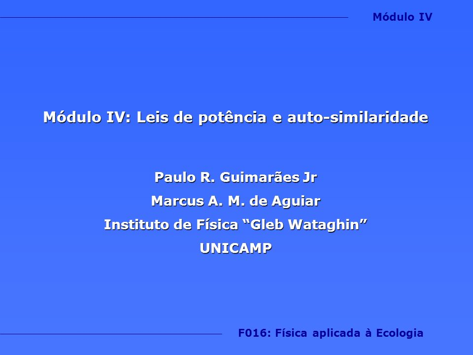 Módulo IV: Leis de potência e auto-similaridade Paulo R. Guimarães Jr Marcus A. M. de Aguiar Instituto de Física Gleb Wataghin UNICAMP F016: Física ap