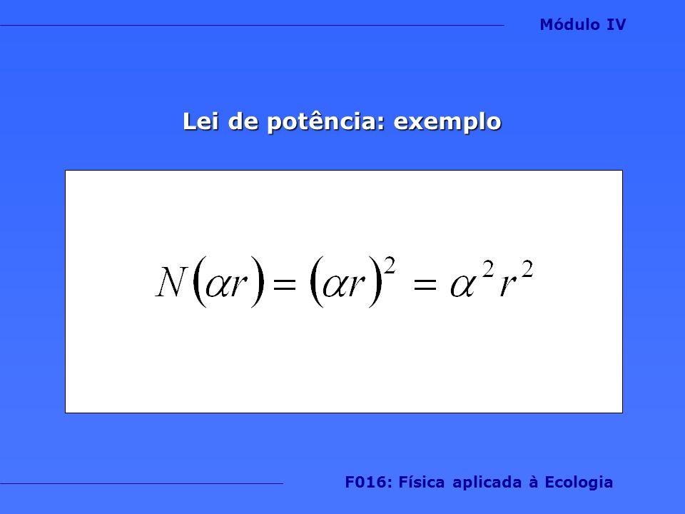 Lei de potência: exemplo Módulo IV F016: Física aplicada à Ecologia