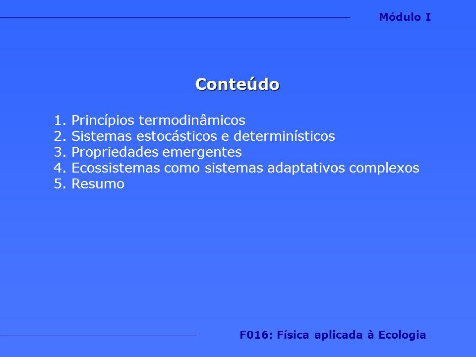 Importante 1.Sistemas determinísticos podem gerar padrões aleatórios Módulo I F016: Física aplicada à Ecologia