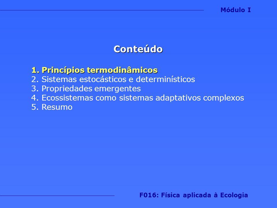 Sistemas termodinâmicos 1.Termodinâmica: estuda os efeitos da mudança de temperatura, pressão e volume em sistema físico analisando o comportamento coletivo de suas partículas Módulo I F016: Física aplicada à Ecologia