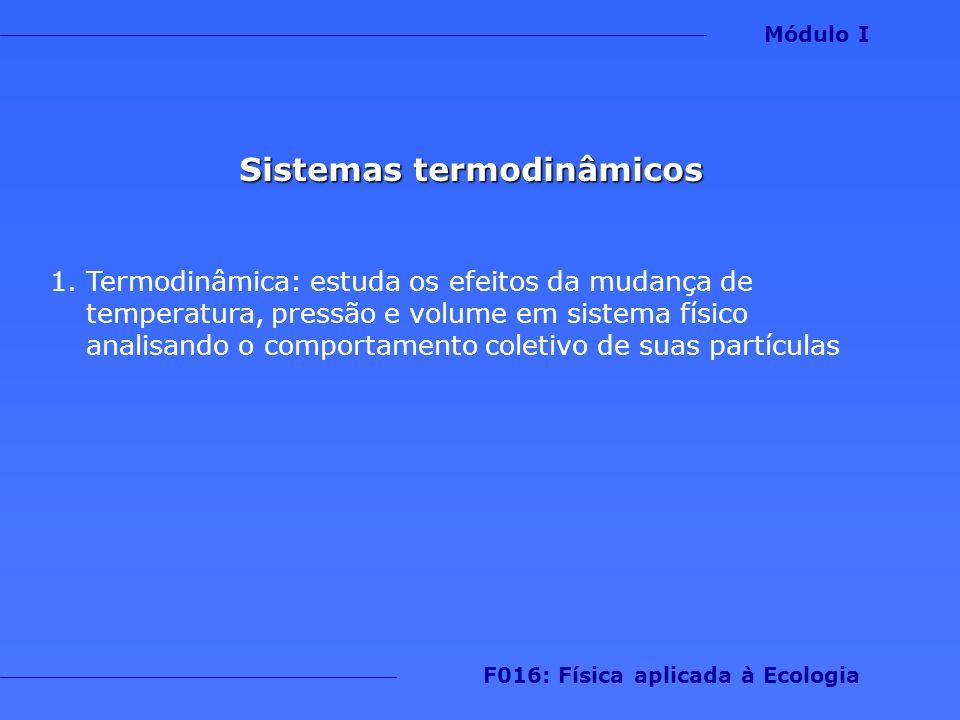 Sistemas termodinâmicos 2.Energia pode ser trocada na forma de calor ou trabalho Módulo I F016: Física aplicada à Ecologia