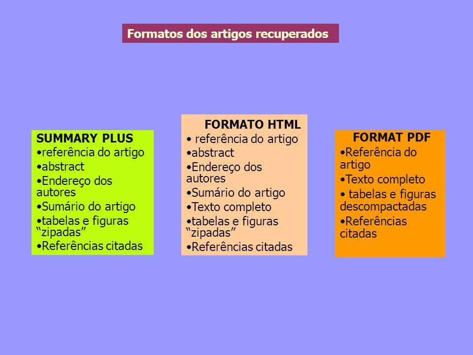 Formatos dos artigos recuperados SUMMARY PLUS referência do artigo abstract Endereço dos autores Sumário do artigo tabelas e figuras zipadas Referênci