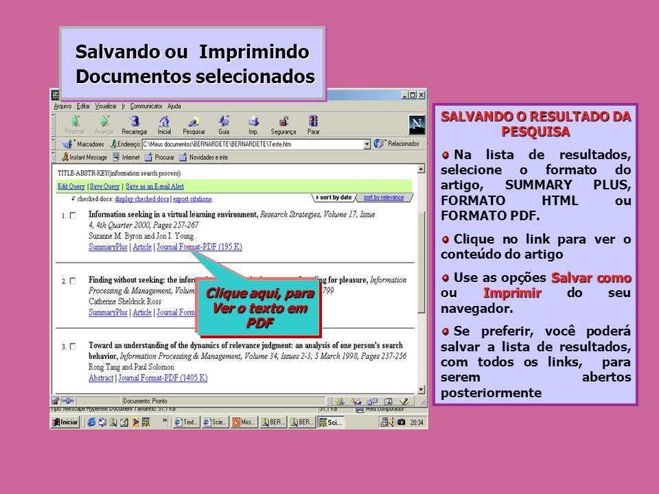 Salvando ou Imprimindo Documentos selecionados Documentos selecionados Salvando ou Imprimindo Documentos selecionados Documentos selecionados SALVANDO