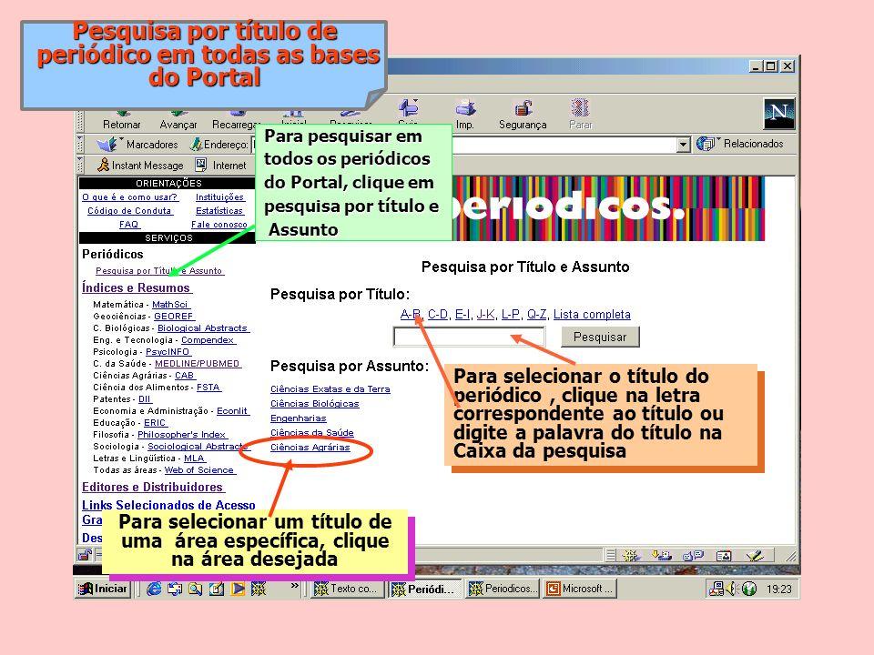 Pesquisa por título de periódico em todas as bases periódico em todas as bases do Portal Para selecionar o título do periódico, clique na letra corres