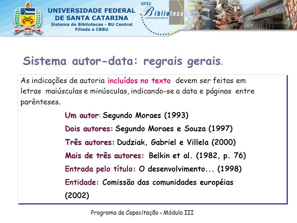 Programa de Capacitação - Módulo III As indicações de autoria incluídos no texto devem ser feitas em letras maiúsculas e minúsculas, indicando-se a da