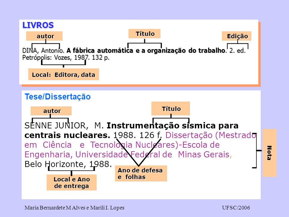 Maria Bernardete M Alves e Marili I. LopesUFSC/2006 LIVROS DINA, Antonio. A fábrica automática e a organização do trabalho. 2. ed. Petrópolis: Vozes,