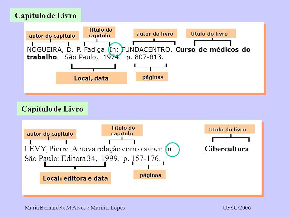 Maria Bernardete M Alves e Marili I. LopesUFSC/2006 NOGUEIRA, D. P. Fadiga. In: FUNDACENTRO. Curso de médicos do trabalho. São Paulo, 1974. p. 807-813