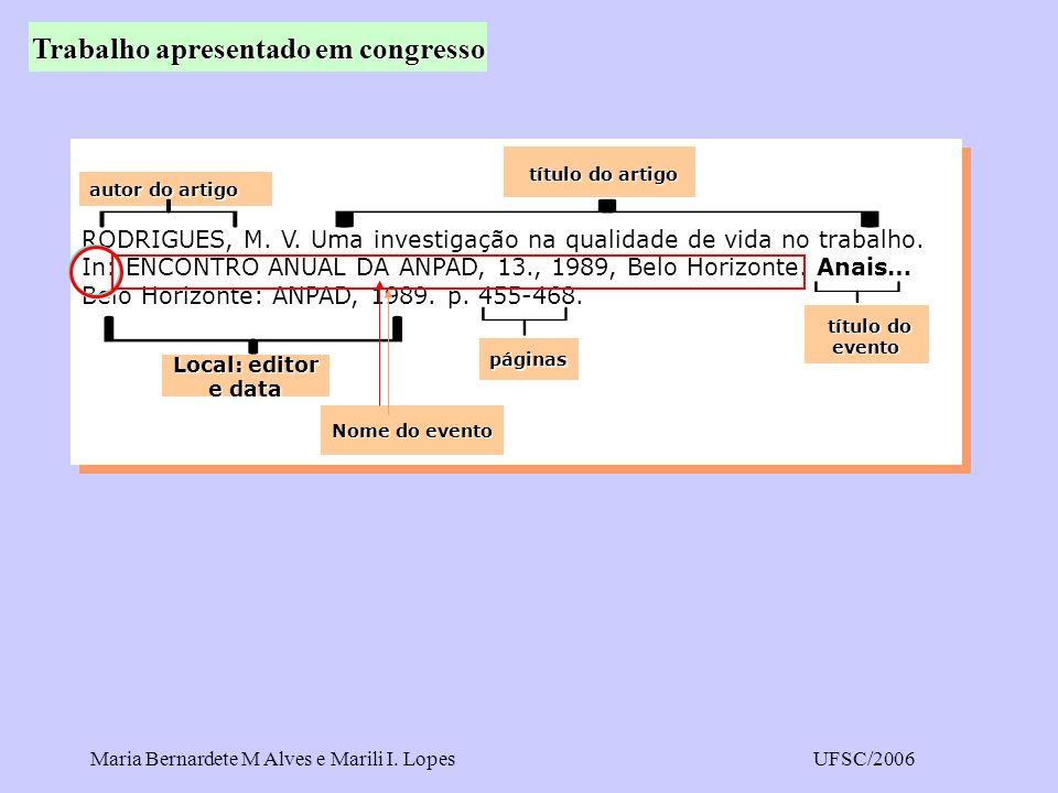 Maria Bernardete M Alves e Marili I. LopesUFSC/2006 RODRIGUES, M. V. Uma investigação na qualidade de vida no trabalho. In: ENCONTRO ANUAL DA ANPAD, 1