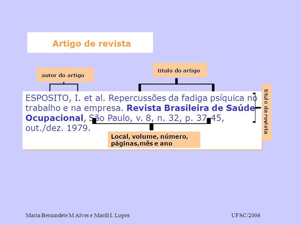 Maria Bernardete M Alves e Marili I. LopesUFSC/2006 Artigo de revista ESPOSITO, I. et al. Repercussões da fadiga psíquica no trabalho e na empresa. Re