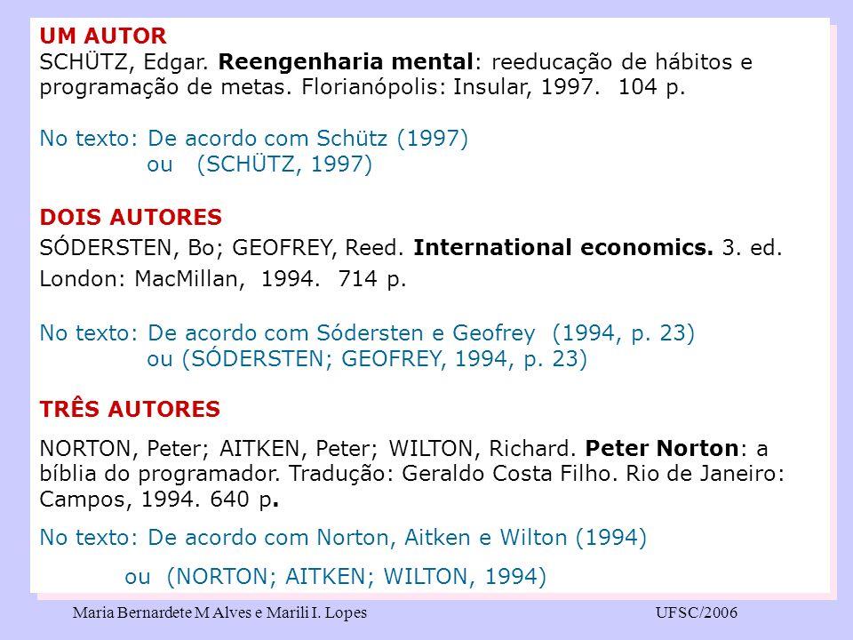 Maria Bernardete M Alves e Marili I. LopesUFSC/2006 UM AUTOR SCHÜTZ, Edgar. Reengenharia mental: reeducação de hábitos e programação de metas. Florian