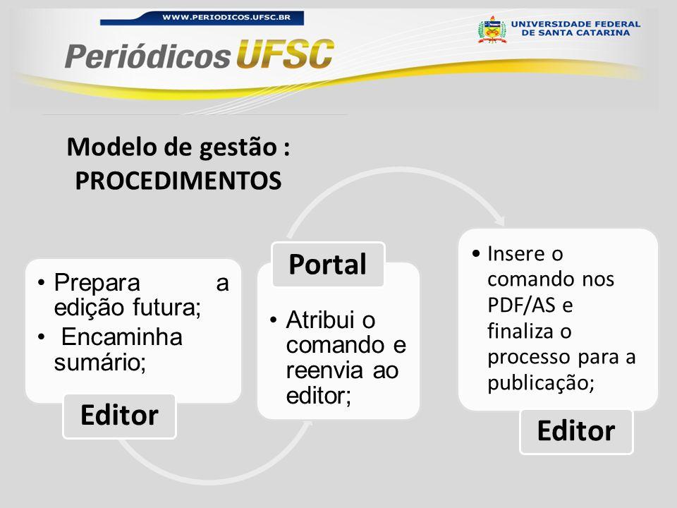 Modelo de gestão : PROCEDIMENTOS Prepara a edição futura; Encaminha sumário; Editor Atribui o comando e reenvia ao editor; Portal Insere o comando nos PDF/AS e finaliza o processo para a publicação; Editor