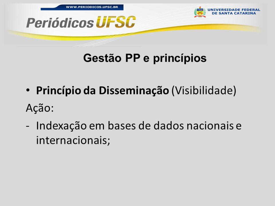 Gestão PP e princípios Princípio da Disseminação (Visibilidade) Ação: -Indexação em bases de dados nacionais e internacionais;