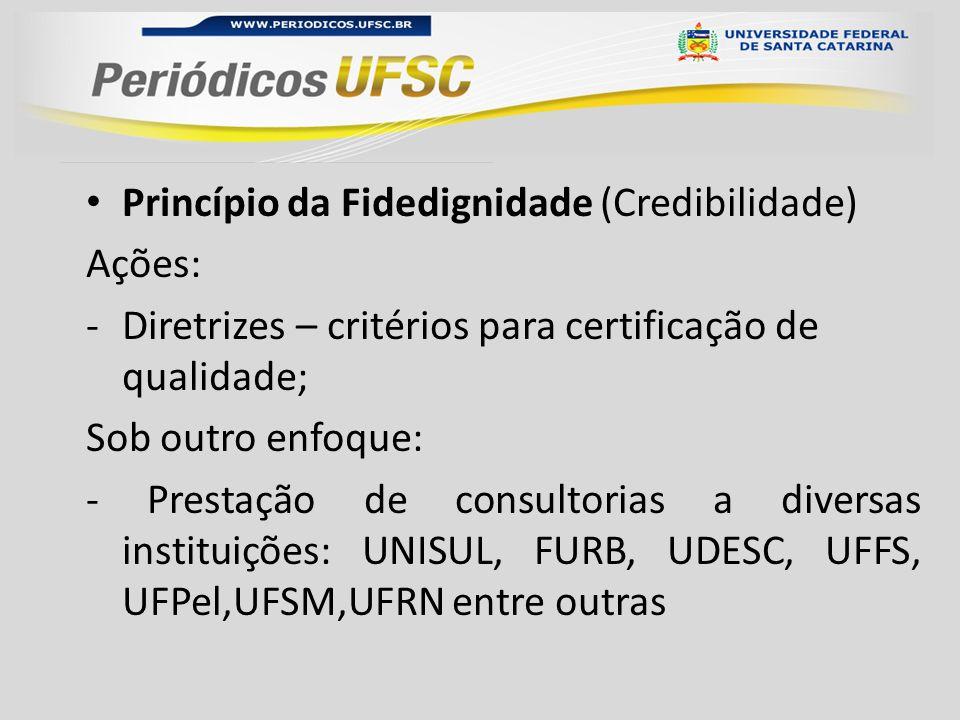 Princípio da Fidedignidade (Credibilidade) Ações: -Diretrizes – critérios para certificação de qualidade; Sob outro enfoque: - Prestação de consultorias a diversas instituições: UNISUL, FURB, UDESC, UFFS, UFPel,UFSM,UFRN entre outras