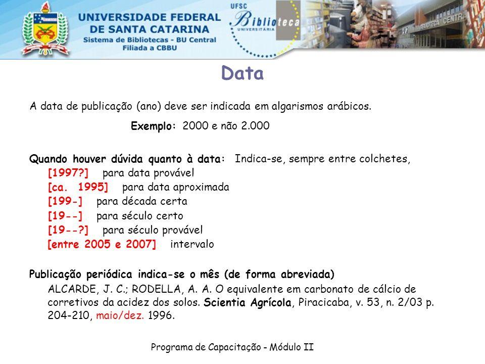 Programa de Capacitação - Módulo II A data de publicação (ano) deve ser indicada em algarismos arábicos. Exemplo: 2000 e não 2.000 Quando houver dúvid