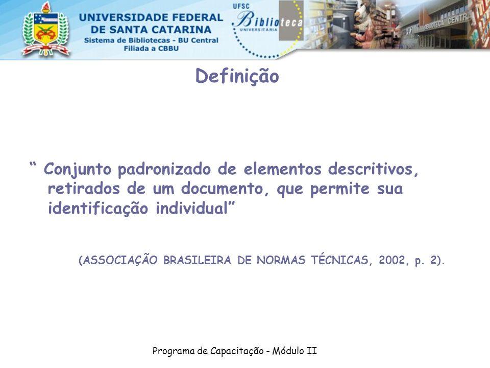 Programa de Capacitação - Módulo II Definição Conjunto padronizado de elementos descritivos, retirados de um documento, que permite sua identificação