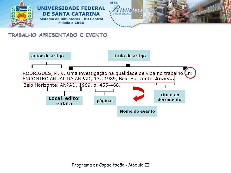Programa de Capacitação - Módulo II RODRIGUES, M. V. Uma investigação na qualidade de vida no trabalho. In: ENCONTRO ANUAL DA ANPAD, 13., 1989, Belo H