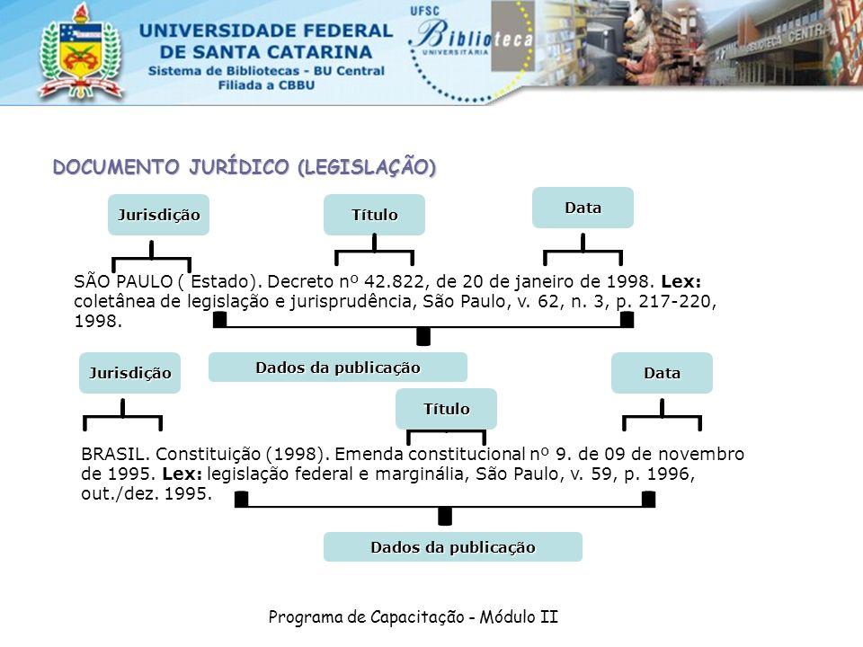 Programa de Capacitação - Módulo II DOCUMENTO JURÍDICO (LEGISLAÇÃO) SÃO PAULO ( Estado). Decreto nº 42.822, de 20 de janeiro de 1998. Lex: coletânea d