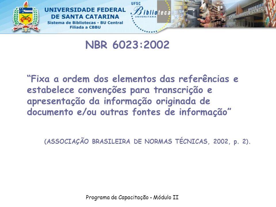 Programa de Capacitação - Módulo II NBR 6023:2002 Fixa a ordem dos elementos das referências e estabelece convenções para transcrição e apresentação d