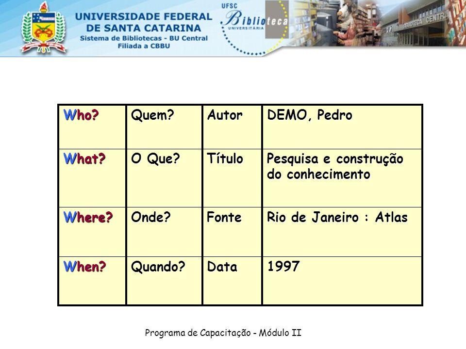 Programa de Capacitação - Módulo II 1997DataQuando? When? Rio de Janeiro : Atlas FonteOnde? Where? Pesquisa e construção do conhecimento Título O Que?