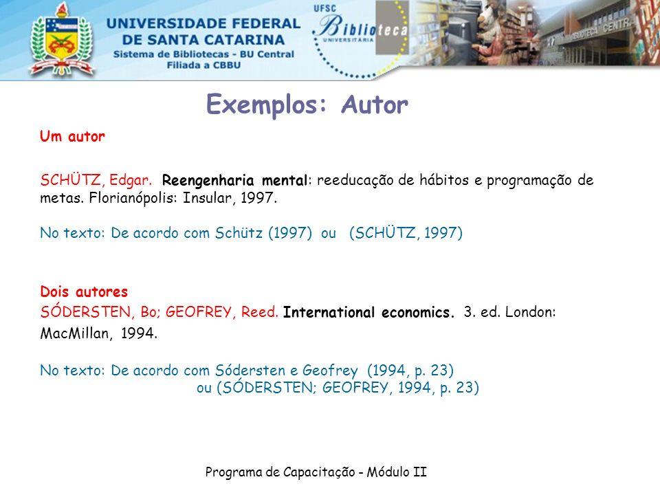 Programa de Capacitação - Módulo II Um autor SCHÜTZ, Edgar. Reengenharia mental: reeducação de hábitos e programação de metas. Florianópolis: Insular,