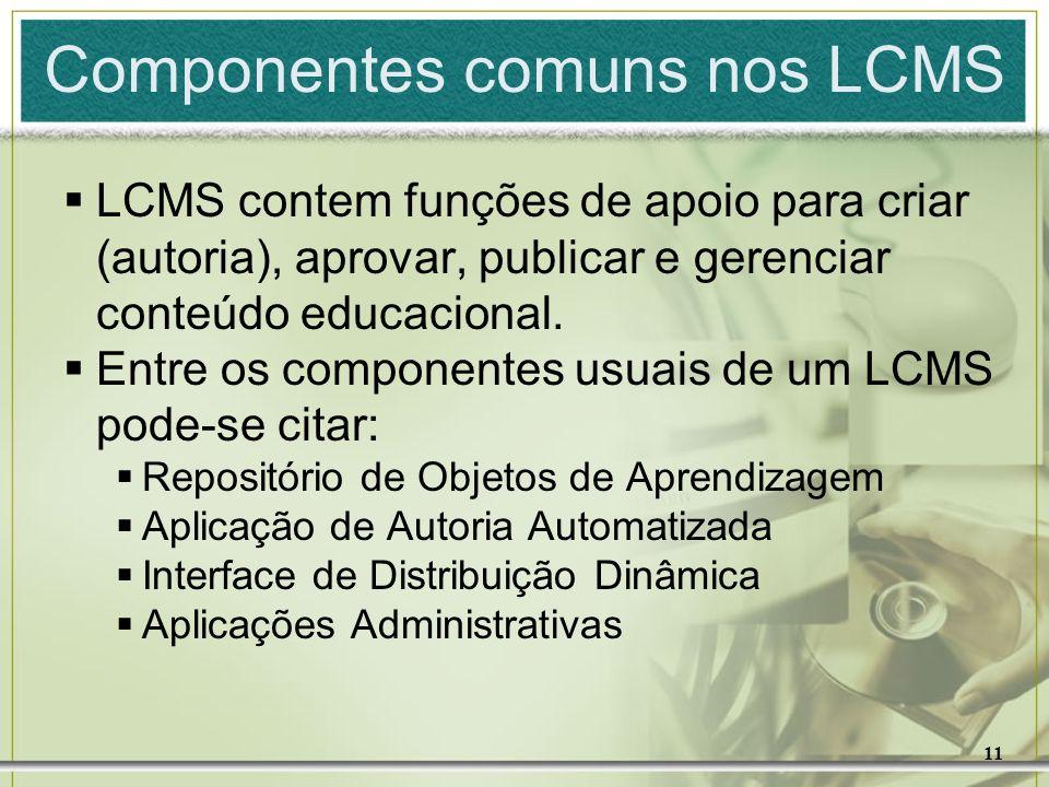 11 Componentes comuns nos LCMS LCMS contem funções de apoio para criar (autoria), aprovar, publicar e gerenciar conteúdo educacional. Entre os compone