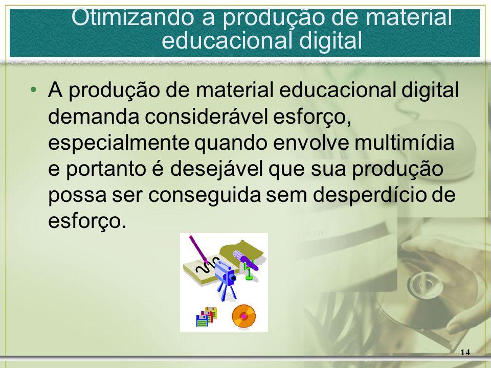 14 Otimizando a produção de material educacional digital A produção de material educacional digital demanda considerável esforço, especialmente quando