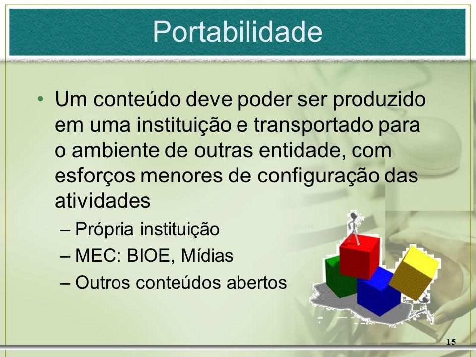 15 Portabilidade Um conteúdo deve poder ser produzido em uma instituição e transportado para o ambiente de outras entidade, com esforços menores de co
