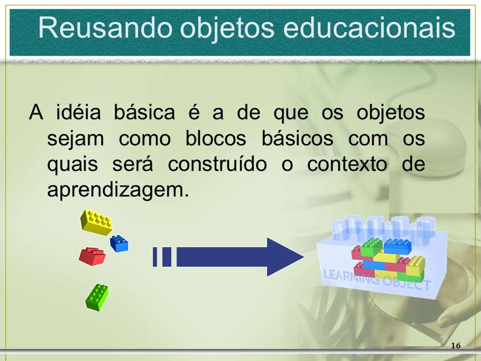 16 Reusando objetos educacionais A idéia básica é a de que os objetos sejam como blocos básicos com os quais será construído o contexto de aprendizage