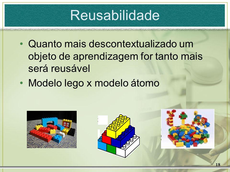 18 Reusabilidade Quanto mais descontextualizado um objeto de aprendizagem for tanto mais será reusável Modelo lego x modelo átomo