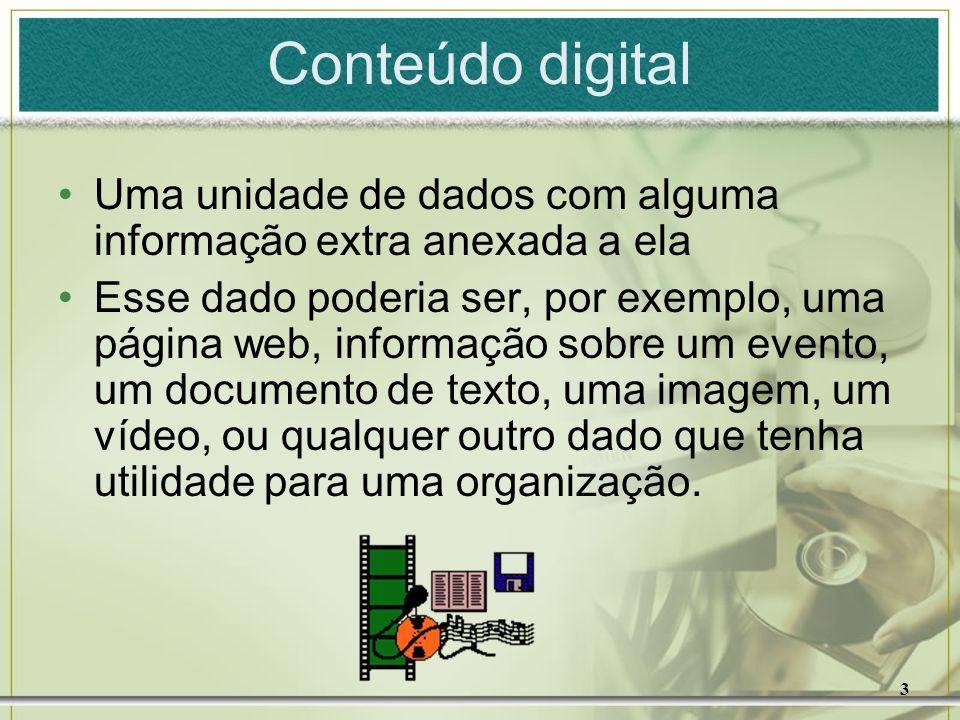 3 Conteúdo digital Uma unidade de dados com alguma informação extra anexada a ela Esse dado poderia ser, por exemplo, uma página web, informação sobre