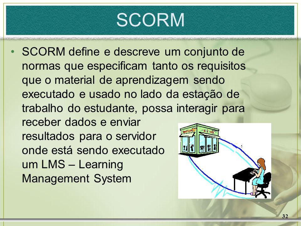 32 SCORM SCORM define e descreve um conjunto de normas que especificam tanto os requisitos que o material de aprendizagem sendo executado e usado no l
