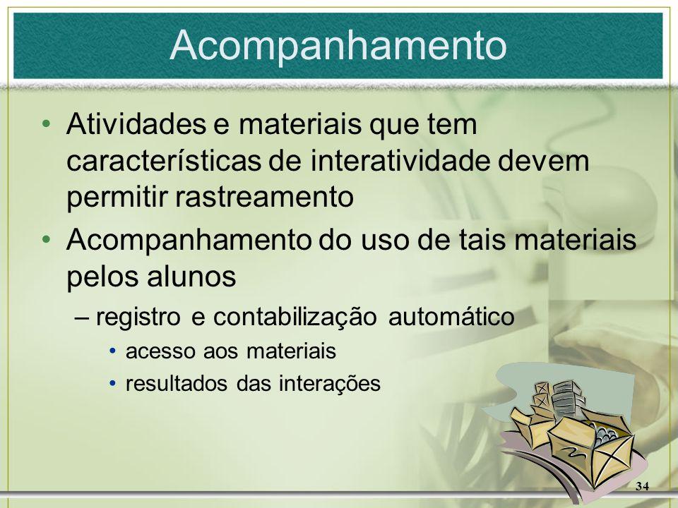 34 Acompanhamento Atividades e materiais que tem características de interatividade devem permitir rastreamento Acompanhamento do uso de tais materiais