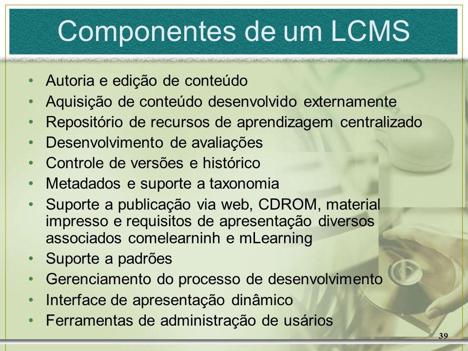 39 Componentes de um LCMS Autoria e edição de conteúdo Aquisição de conteúdo desenvolvido externamente Repositório de recursos de aprendizagem central