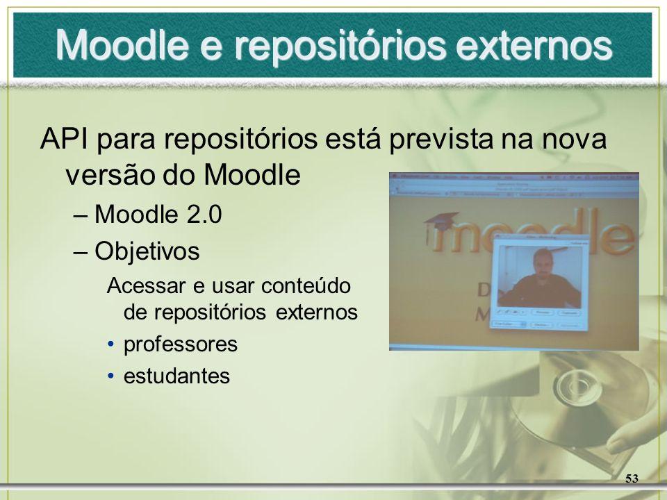 53 Moodle e repositórios externos API para repositórios está prevista na nova versão do Moodle –Moodle 2.0 –Objetivos Acessar e usar conteúdo de repos